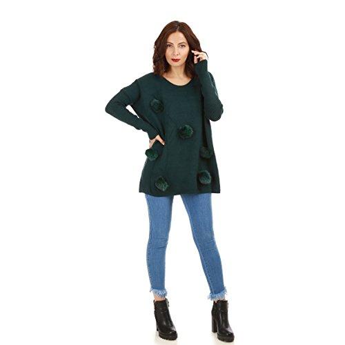 La Modeuse - Pull long et ample femme Vert