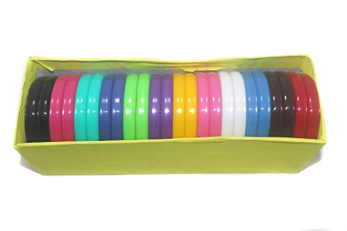 Beadsnfashion Plastic Colourful Thick Bangles For Silk Thread Jewellery Making, Full Box 24 Pcs, Size2.6