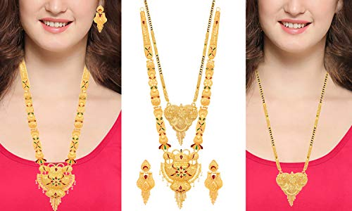 Mansiyaorange Combo of Two Party One Gram Gold Forming Long Mangalsutra Multi Color Jewellery Necklace/Juelry/jwelry Set Jewellery for Women