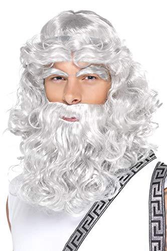 Poseidon Kostüm - Smiffys Herren Zeus Perücke, Perücke mit Bart und Augenbrauen, Grau, One Size, 42301