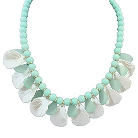 Fashionable Bright Leaves Pearl Necklace,Green-L