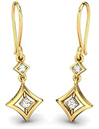 Candere By Kalyan Jewellers Contemporary Collection 14k (585) Yellow Gold and Diamond Drop Earrings for Women