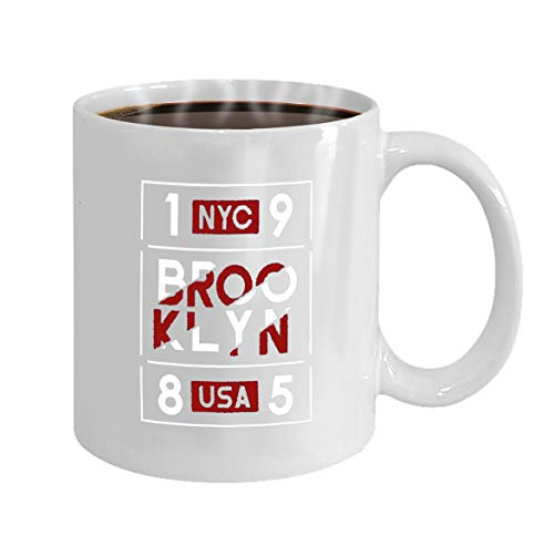 Coffee Mug - Ceramic Mugs - Unique Gifts idea For Men, For uncle, Husband - On Christmas, Birthday, 11 Oz tea cup White brooklyn nyc usa typography design sports apparel a