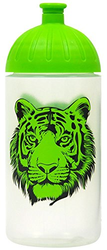 ISYbe Original Marken-Trink-Flasche für Klein-Kinder, 500 ml, BPA-frei, grüner Tiger-Motiv für Mädchen & Jungen, für Schule-Reisen-Kita-Kiga-Outdoor, Auslaufsicher auch mit Sprudel, Spülmaschine-fest