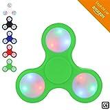 BeZen Fidget Spinners - Spinner Anti Stress Lumineux avec LED pour Adultes et Enfants (Bonus: eBook gratuit) (Vert)