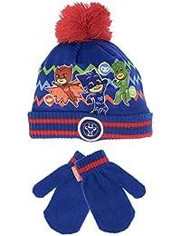 PJ Masks Conjunto de sombrero y guantes para niño Gatuno, Buhíta y Gekko