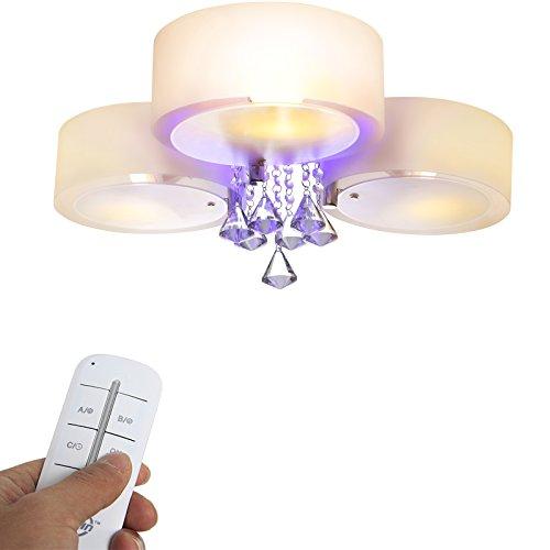Yorbay Plafonnier à LED orné de cristaux, culot E27, lumière rouge/bleue/pourpre avec télécommande, pour salon, salle à manger (3ampoules)