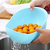 Rinse Bowl For Rice, Pulses, Fruits, Vegetables, Noodles, Pasta Kitchen Washing Bowl/Washing Drain Basket/Storage Basket Or Strainer For Storing And Straining, Multi Color By Next ON (Blue)