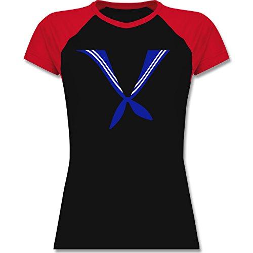 Karneval & Fasching - Matrose Kostüm Tuch - zweifarbiges Baseballshirt / Raglan T-Shirt für Damen Schwarz/Rot