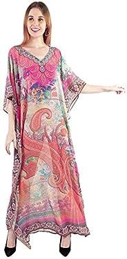 Craft Trade Women's Kaftan Dress Beach Cover Up Ladies Kaftan Sleepwear Polyester Kaftan Night Gown Robe V