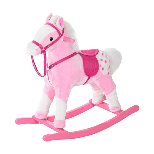HOMCOM Children Child Kids Plush Rocking Horse with Sound Handle Grip Traditional Toy Fun Gift (Pink)
