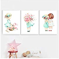 MULMF Cute Baby Girl Rose Flower Nordic Umbrella Posters and Prints Wall Art Canvas Painting Nursery Wall Pictures Decor- 50X70Cmx3 No Frame