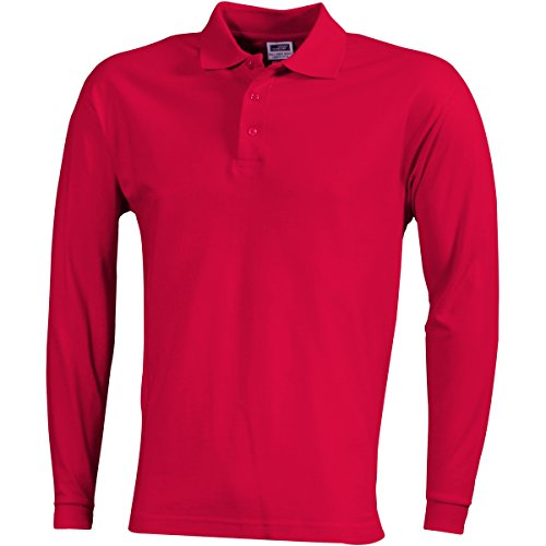 JAMES & NICHOLSON Herren Poloshirt, Einfarbig Rot