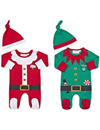 06825f8ca Baby's First Christmas Novelty Outfit | Red Santa Sleepsuit with Hat Or  Green Elf with Hat