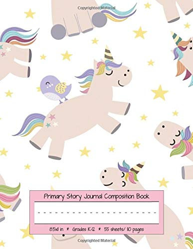 Primary Story Journal Composition Book Grades K-12: Draw and Write, Dotted Midline Creative Picture Notebook Early Childhood to Kindergarten (Unicorns & Birds, Band 1) -