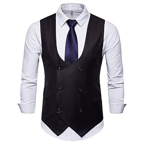 Fuxitoggo Mens Classic U Kragen Fischgrät Tweed Tailored Kragen Anzug Weste (Farbe : Farbe3, Größe : M) - Fischgrat Weste