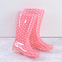 HDDTDYX Rain Boots,Women Comfortable Non-Slip Rainboots Fashion Pink Pvc Waterproof Water Shoes Autumn Wellies Polka Dot Soft Durable Rain Boots