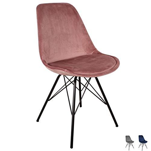 Nimara Samt Schalenstuhl in skandinavischem Design | Esszimmerstühle, Wohnzimmer und Küchenstühle | Der perfekte Stuhl für den Esstisch | Retro Stuhl mit Metallbeinen (Rosa)
