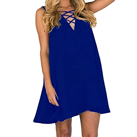 Women Dress,Women Plus Size Summer Sleeveless Loose V-Neck Chiffon Dress (6XL, Blue)