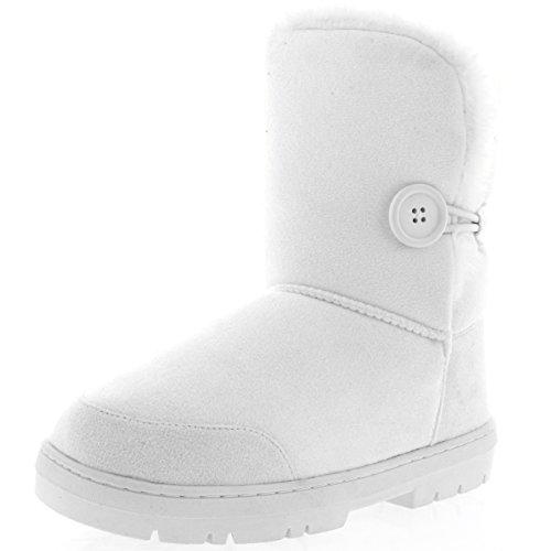 Holly Damen Schuhe Single Knopf Fell Schnee Regen Stiefel Winter fur Boots - Weiß - WHI40 AEA0254 (Boots Weiße Winter)