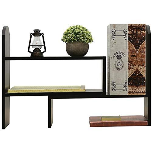 verstellbar Holz Büro Desktop Organizer Ablage Rack, Tisch Bücherregal, schwarz -