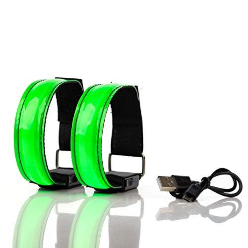 BRACCIALETTO LED RICARICABILE USB Catarifrangente - Luci Segnalazione Alta Visibilità per Corsa, Running, Jogging, Ciclismo, 3 modalità luminose di Sicurezza (Set 2 Pezzi) (verde)