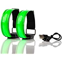SET OF 2 RECHARGEABLE LED ARMBANDS Super Bright High Visibility Reflective Safety LED Night Light for Running, Jogging, Cycling, Biking, Walking, Flashing and Static LED functions USB charged