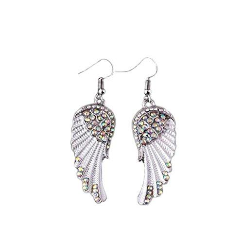 Hirolan Damen Ohrringe, Paar Engelsflügel Diamant Ohrringe Handel Angel Wings Weiß/Blau/Rot Ohrhänger Creolen Ohrringe Hypoallergen Ohrschmuck für Damen Frauen Mädchen (A)