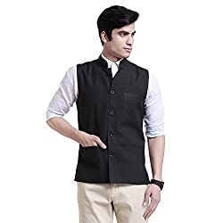 Vandnam Mens Poly Cotton Dark Green Color Nehru Jacket (DarkGreen)