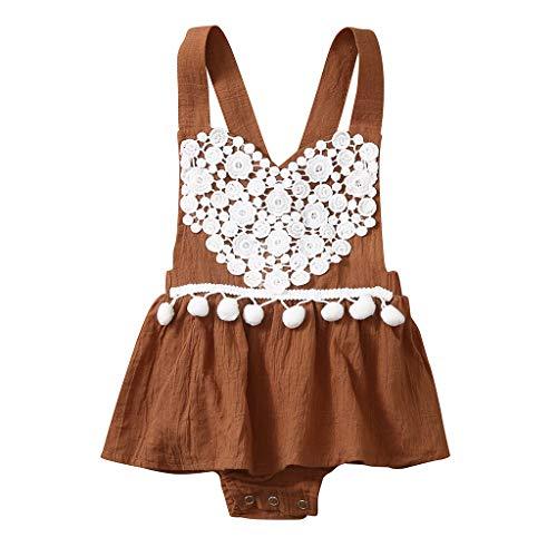 Alwayswin Kleinkind Baby Mädchen Kleid Strampler Bodysuit Mode Floral Lace Tops Kleidung Ärmelloses Kleid mit Quastenriemen Herzförmige Rückenfreie Falten Baby Strampler Overall