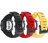 YaYuu Watch Armband für Suunto Core, TPU Sportarmband Uhr Band Strap Erstatzband Uhrenarmband für Suunto Core Samrtwatch, Armbandlänge 140mm-230mm (Schwarz + Rot + Gelb)