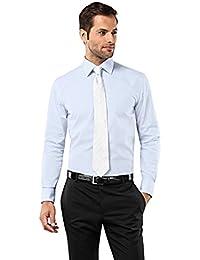 Vincenzo Boretti Herren-Hemd Bügelfrei 100% Baumwolle Slim-Fit Tailliert Uni -Farben - Männer Lang-Arm Hemden für Anzug mit Krawatte Business… 94076357e4