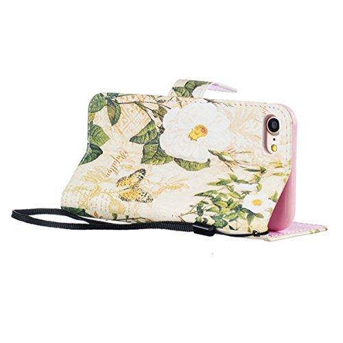 iPhone 7 Hülle,SainCat iPhone 7 Ledertasche Handyhülle Brieftasche im BookStyle Erleichterung Pfaublume Muster PU Leder Hülle Wallet Case Folio Schutzhülle Lederhülle Ledercase Scratch Bumper Handytas Schmetterlings-Blumen