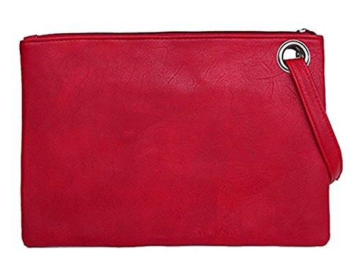 Tskybag - Cartera de mano de Piel Sintética Mujer, color Rojo, talla Large