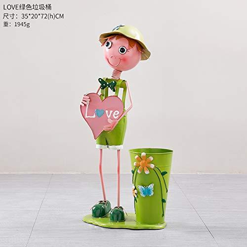 ll Landete Mülleimer Kreative Dekoration Multifunktionale Hochzeitsdekoration Blumenschaufel Eimer Liebe grüne Müllabfälle ()