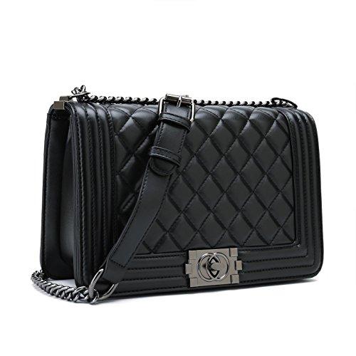 Belle Vannes Damen Designer Gesteppte Schultertasche aus Leder mit Kette Tasche Umhaengetasche Damentaschen Handtasche Groß Schwarz (Gesteppte Handtaschen Taschen)