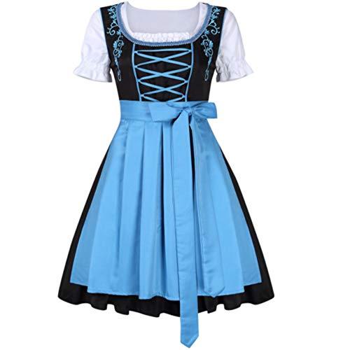 Kostüm Happy Schürze - Zantec Oktoberfest Trachten Damen Dirndl Set Bier Festival Kleid Frauen Bayerische Kostüme Kleid DREI Teilig: Kleid, Bluse, Schürze hellblaue 34