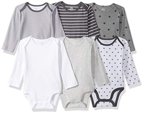 *Amazon Essentials Baby Langarm-Body, 6er-Pack, Uni Star Stripe Neutral, US NB (EU 56-62)*