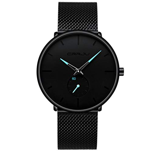 Ears 30 Meter Waterproofing Super Thin Men's Business Watch Leisure Wristwatch Datum Kalender Klassisch Analog Quarz Dünn Armbanduhr Gents Luxus Elegant Kleid Uhr mit Schwarz (Blau)