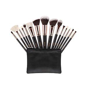 Eono by Amazon – Brochas de Maquillaje 15 Unids Pelos de Cabra Sintéticos Premium Base Pincel Mezcla Polvo Facial Rubor Corrector Cosméticos de Ojos Maquillaje Kits con Estuche