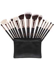 Amazon Brand: Eono Essentials Maquillage Pinceaux 15 Pcs Premium Synthétique Cheveux De Chèvre Fondation Brosse Mélange Visage Poudre Blush Concealers Yeux Cosmétiques Maquillage Brosse Kits avec Étui