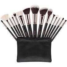 Eono Essentials Brochas de Maquillaje 15 Unids Pelos de Cabra Sintéticos Premium Base Pincel Mezcla Polvo Facial Rubor Corrector Cosméticos de Ojos Maquillaje Kits con Estuche