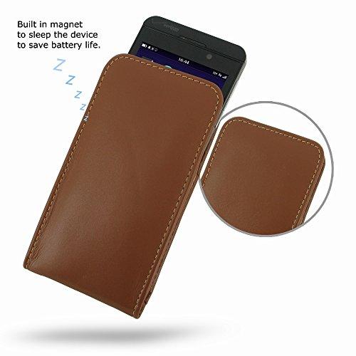 PDAir Blackberry Z10Tasche Sleeve (Braun), Echt Leder Hülle [, der Holster] | Hand Made Premium Vertikaltasche für Blackberry Z10(Ohne Gürtelclip) für Herren