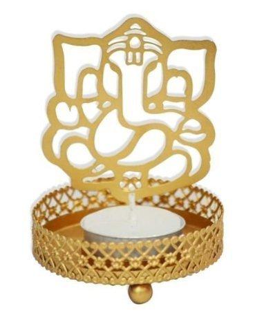 Porta velas tradicional para velas de té Hashcart, juego de soportes metálicos y decorativos para velas de té con diseño de Ganesh, para el hogar, la sala y la oficina