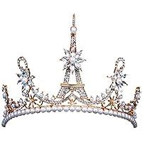 Frcolor Golden Vintage Diademi Torre Eiffel Forma Corona di perle per le  donne Matrimonio decorativo ( 62fd4b8e504c