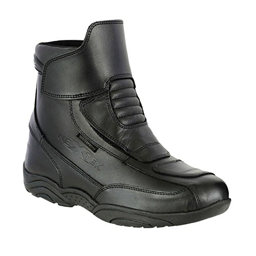 Zip frei Echt Leder Motorrad Stiefel Touring advernture Urban Schuhe–vollständig wasserdicht kurz Knöchel Armour Trainer | Full Black