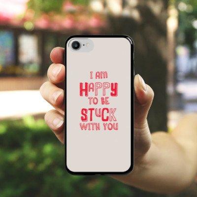 Apple iPhone X Silikon Hülle Case Schutzhülle Sprüche Liebe Freundschaft Hard Case schwarz