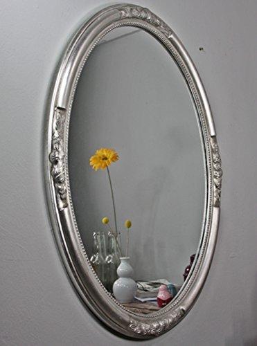 Espejo de pared ovalado antiguo con pátina | Espejo schlicht barroco de madera con adornos, en estilo rústico como baño Espejo | maquillarse o tocador Espejo para el País Casa, madera, plata, 47 x 57cm