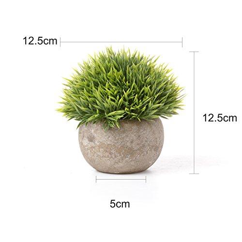 T4U Künstliche Grün Gras Bonsai Kunstpflanze mit grauen Topf, für Hochzeit/Büro/Zuhause Dekoration - 3er Set - 2