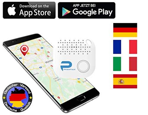 Phantiax - Localizador de Llaves con aplicación Bluetooth, localización GPS y Detector de Movimiento para Encontrar Llaves, Smartphones o Objetos, Color Blanco